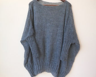 Oversized Plus Size Hand Knit Sweater Tunic Loose Knit Women's Sweater