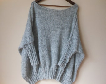 Oversized Plus Size Hand Knit Sweater Tunic Loose Knit Women's Sweater Poncho Gray