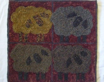 "Hand Hooked Piece ""Four Sheep"""