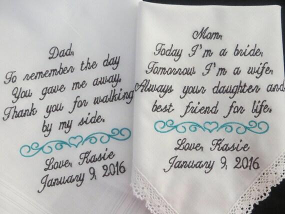 MOB & FOB wedding handkerchiefs - custom