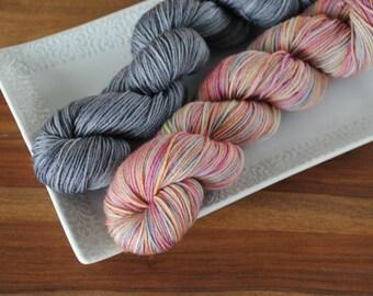 Dawn on the Mountain 50/50 on Maple, Merino/Nylon Fingering Weight Hand-dyed Yarn