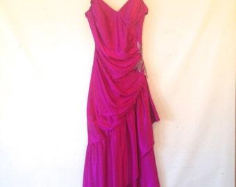 1970s magenta disco vintage 1970s party dress magenta party dress medium spaghetti strap dress