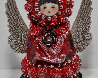 Red & Silver Butterfly Mosaic Peg Doll Angel