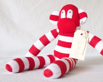 Sock monkey, sock animal, soft plush toy monkey. Swanee.