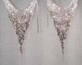 Large Silver ombre crochet earrings