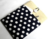 17 inch Laptop Case Bag Fabric Computer Sleeve Case for HP Asus Acer Dell ToshibaSUPERIOR Shock Absorbent Foam Padding Navy Polka Dot