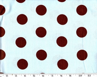 1 Yard, Brown Dots on Blue Cotton