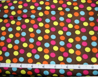 1 Yard 35 in, Patterned Fruit  Dots on Brown