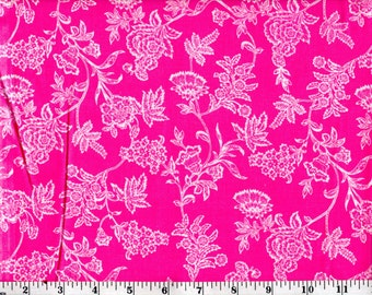 1 Yard, White Flowers on Pink Cotton