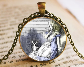 Alice in Wonderland Pendant/Necklace Jewelry, Fine Art Necklace Jewelry, Alice in Wonderland Photo Jewelry Glass Pendant Gift