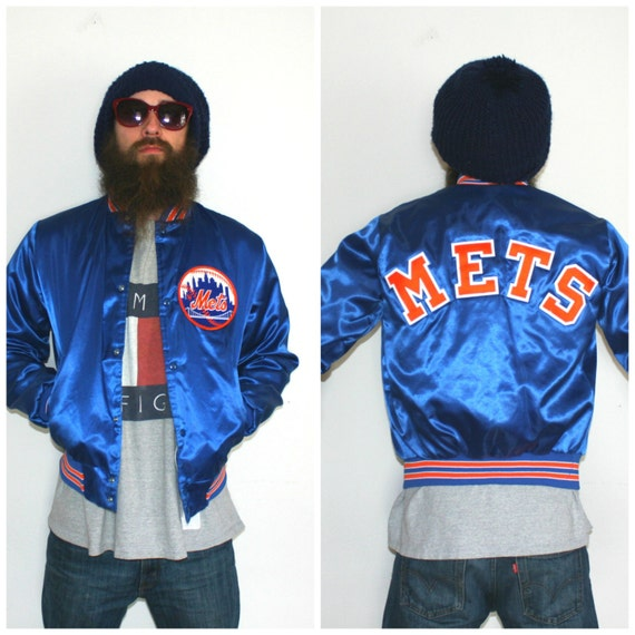 New York Mets Vintage Satin Jacket. Blue and Orange Retro 80s