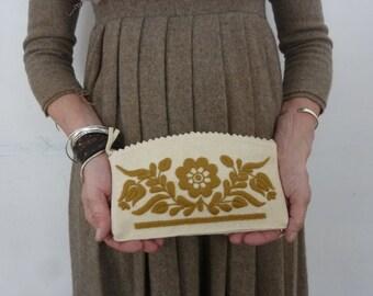 Vintage Clutch Purse Folkloric Embroidered Felt Make Up Bag Pencil Holder Wallet