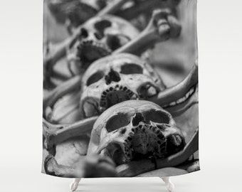 Skulls Shower Curtain Photo Art Curtain Decor Curtain Home Decor Bath Curtain Bathroom Curtain 71x74 Photo
