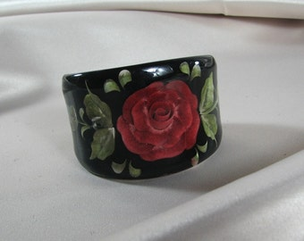 1960s Hand Carved/Painted Lucite Cuff Bracelet