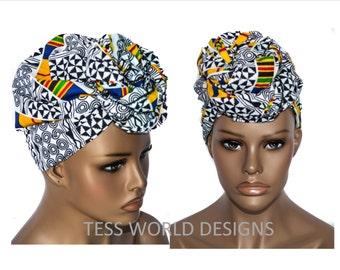 Adinkra Kente print African head wraps/ African Head wraps/African Hair Wraps/ African Headscarf/ African Head Ties/  HT34