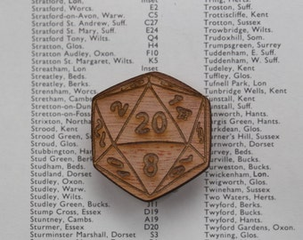 D20 dice pin badge for all adventuring geeks ~ wooden laser cut brooch