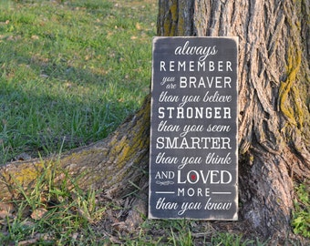 Always Remember your are braver Winnie the Pooh quote painted wood sign sign