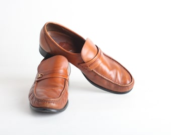 Men's Brown Leather Loafers, Leather Slip Ons, Size 8.5/9
