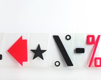 Vintage Plastic Symbols and Shapes Signs