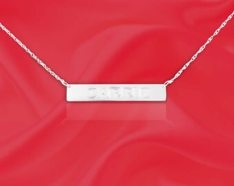 Name Bar - Sterling Silver - Personalized with your name of choice - Hand Engraved Tag Necklace - Name Tag - Made in USA