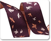 Aubergine Tiny Bird Flight Ribbon Bonnie Christine Renaissance Ribbons - 1 Yard - Butterfly Ribbon - Renaissance Ribbons Dark Purple