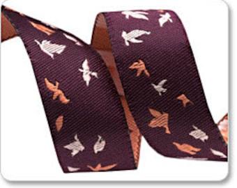 Aubergine Tiny Bird Flight Ribbon Bonnie Christine Renaissance Ribbons - 1 Yard - Butterfly Ribbon - Renaissance Ribbons Dark Purple