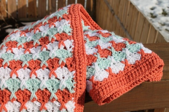 Hugs And Kisses Crochet Baby Blanket Pattern : Baby Blanket Afghan Orange Green White colors by RedPisces ...