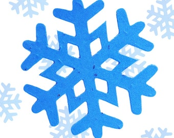 "10 Winter Snowflake Plantable Seeded Paper Shape Favors 3"", Available in 39 Colors"