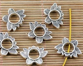22pcs tibetan silver 2sided lotus flower spacer bead EF1458