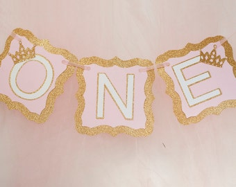Gold and Pink One Banner,  Princess I Am One Banner, Gold & Pink Princess Banner, Princess 1st Birthday Party P166
