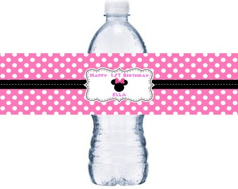 10 or More Hot Pink Minnie Mouse Waterproof Bottle Label, Hot Pink Minnie Mouse Adhesive Bottle Label,