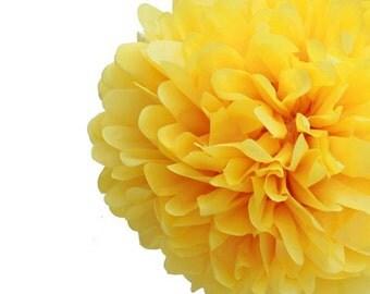"""Set of 3 Yellow Tissue Pom Pom, Yellow Tissue Paper Pom Poms 14"""""""