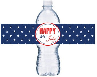 10 or More July 4th Waterproof Bottle Label, 4th of July Adhesive Bottle Label,