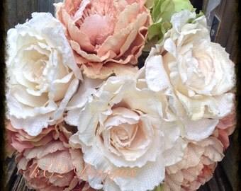 Silk flower wedding bouquet. Silk bouquet. Bridal bouquet. YOUR COLORS. ivory bouquet. Blush bouquet. Hydrangea