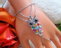 Bohemian slave bracelet, owl ring bracelet, Boho hand chain, colorful bracelet, slave ring, finger bracelet, hand chain bracelet