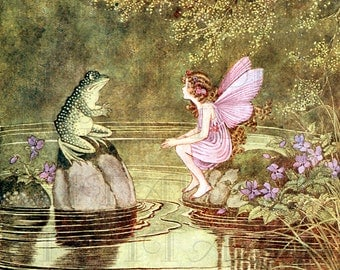 Mr. FROG Has a Chat with Pink FAIRY! Storybook Vintage Illustration. Digital Vintage Fairy Download. Digital Fairy Print. Ida Outhwaite.