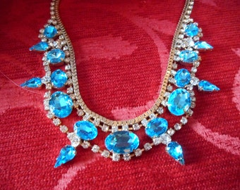 Vintage style diamante turquoise jewelled multie link necklace ajustable length christmas present party
