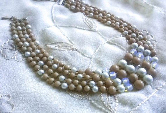 Vintage beige white lucite beaded multi strand necklace with handmade glass beads