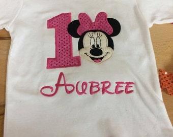 Minnie Birthday Applique shirt