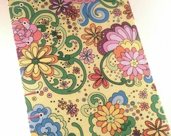 Yellow, Blue, Pink, Green Floral Hard Cover Writing Journal, Junk Journal, Travel Journal, Notebook, Guestbook, Diary 5 1/2 x 8 1/2 in