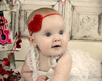 Valentines Heart Headband Baby Red Heart Headband Newborn Headband Infant Headband Toddler Headband Baby Girl Headband - Photo Prop