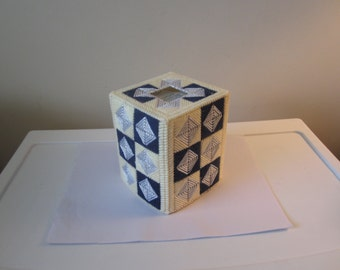 FATHERS DAY Navy Blue Silver Boutique Tissue Box Cover in Plastic Needlepoint
