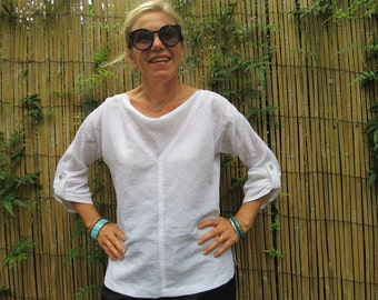 Linen top, White linen top, Handmade,  Linen clothing,  Cowl neck,  Three quarter sleeves, Pearl buttons, Natural fibre.