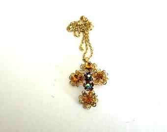 Cross Pendant Necklace Multi Color Crystal