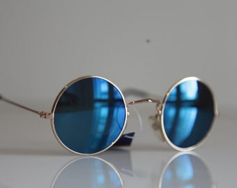 Vintage  Gold Frame, Blue Iridescent Round lenses. OPTICON'S. Made in Greece