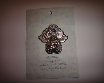 new on card beautiful guardian angel gift pin brooch  large sterling silver plated with austrian crystal rhinestones custom handmade