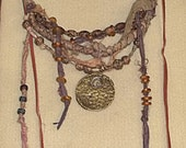 Heaven.....An Artist's Dream Necklace...Primitive, African Trade Beads, Sari Silk, And So Much More..Art For Artists