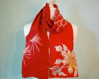 Vibrant red Japanese silk reversible kmono scarf