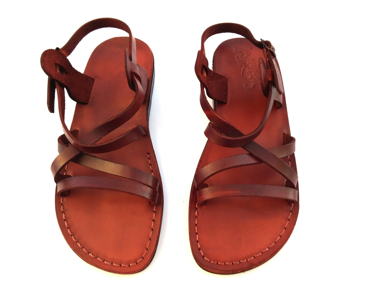 Brown Genuine Leather Strappy Sandals For Women Flip Flops