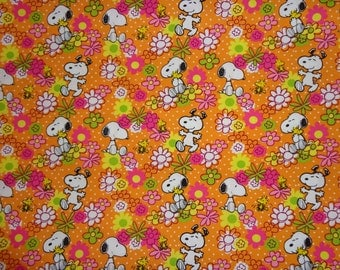 33 x 44 Inches Orange Snoopy/Woodstock Flowered Cotton Fabric